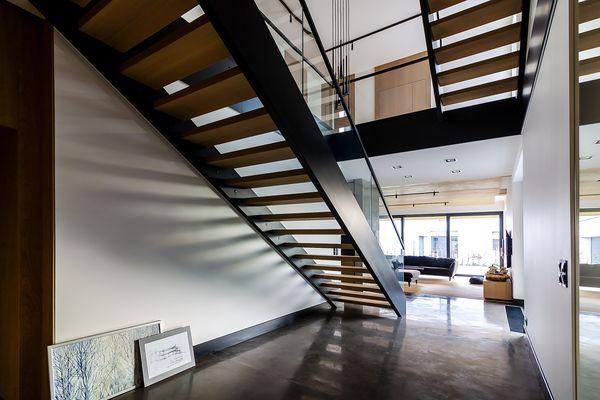 schody drewniano metalowe