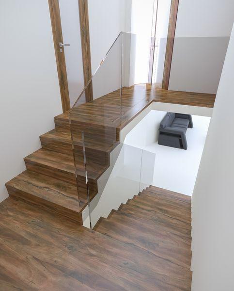 Wizualizacje balustrady szklanej wklejonej w bieg schodów dywanowych