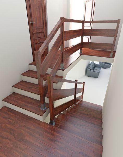 Wizualizacja balustrady drewnianej wypełnienie poziome