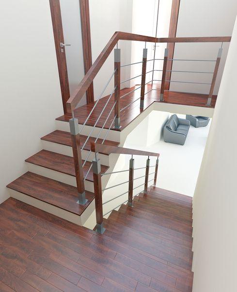Wizualizacja balustrady drewnianej